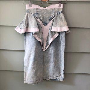 Vintage 80's High Waist Ruffle Denim Skirt